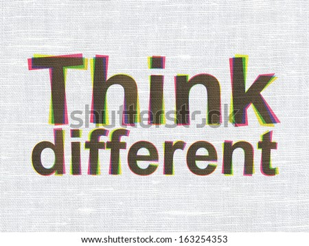 Education concept: CMYK Think Different on linen fabric texture background, 3d render