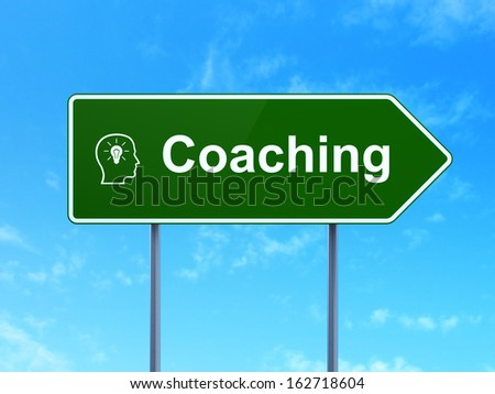 Education concept: Coaching and Head With Lightbulb icon on green road (highway) sign, clear blue sky background, 3d render