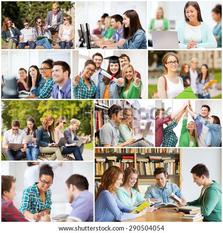 education concept collage with many pictures of students in college university or high school