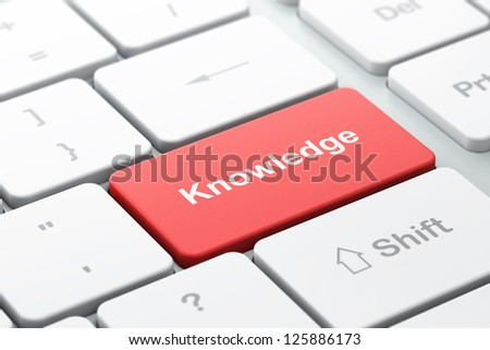 Education concept: computer keyboard with word Knowledge, selected focus on enter button, 3d render
