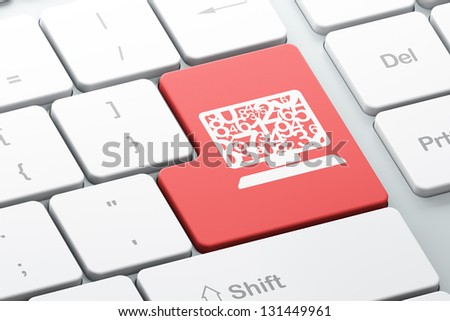 Education concept: Enter button with Computer Pc on computer keyboard, 3d render