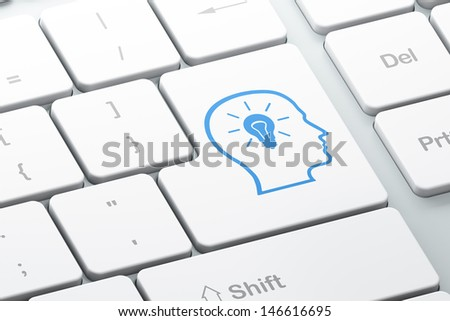 Education concept: Enter button with Head With Lightbulb on computer keyboard background, 3d render - stock photo