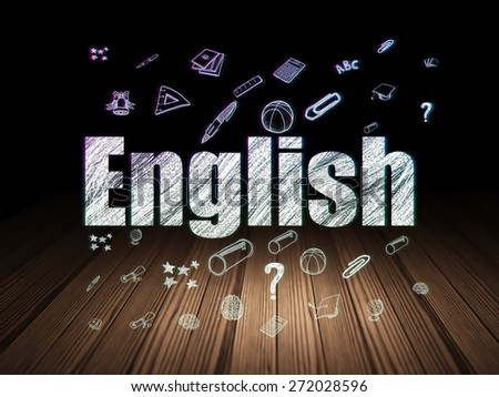 Education concept: Glowing text English,  Hand Drawn Education Icons in grunge dark room with Wooden Floor, black background, 3d render