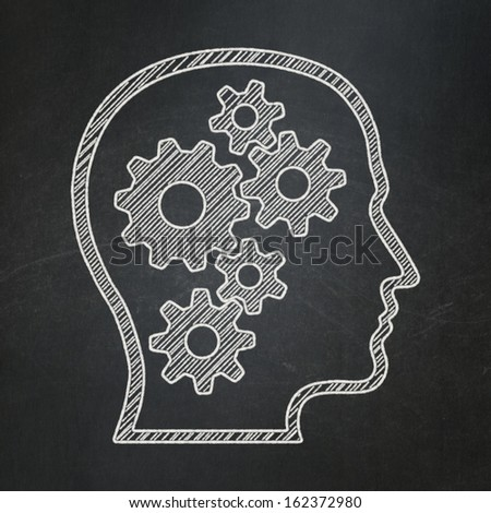 Education concept: Head With Gears icon on Black chalkboard background, 3d render