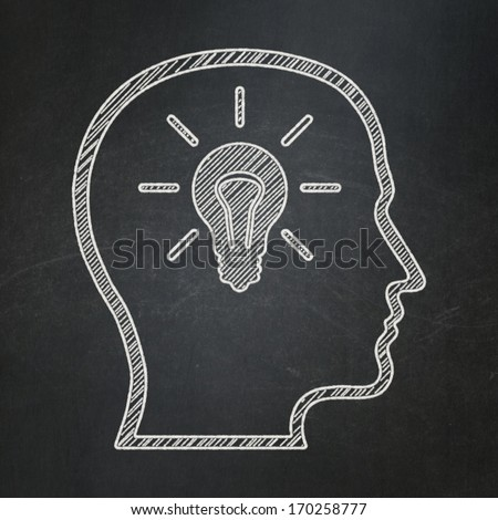 Education concept: Head With Lightbulb icon on Black chalkboard background, 3d render