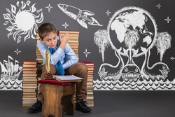 Education concept. Imagination and fantasies, awakened by the reading of books