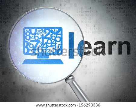 Education concept: magnifying optical glass with Computer Pc icon and Learn word on digital background, 3d render