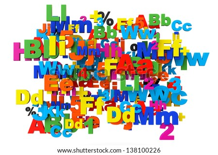 Education concept. Multicolored letters and numbers on a white background