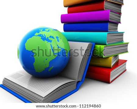 Education concept, pile of color books with globe