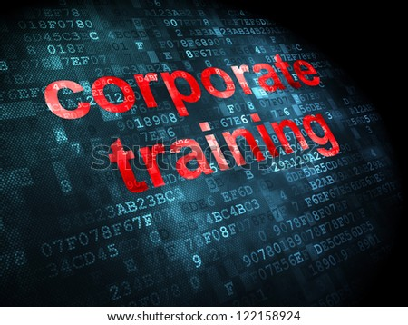Education concept: pixelated words corporate training on digital background, 3d render