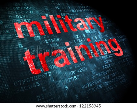 Education concept: pixelated words military training on digital background, 3d render