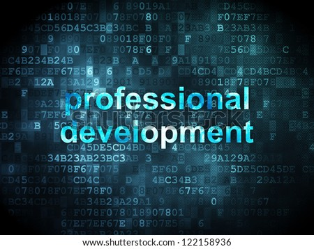 Education concept: pixelated words professional development on digital background, 3d render