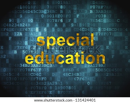 Education concept: pixelated words Special Education on digital background, 3d render
