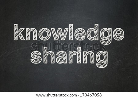 Education concept: text Knowledge Sharing on Black chalkboard background, 3d render