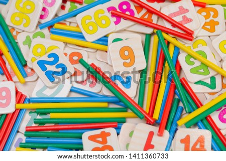 Education concept with Creativity for Kids mathematics accessory Set background. Stock fotó ©