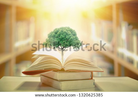 education concept with tree of knowledge planting on opening old big book in library with textbook, stack piles of text archive and aisle of bookshelves in school study class room #1320625385