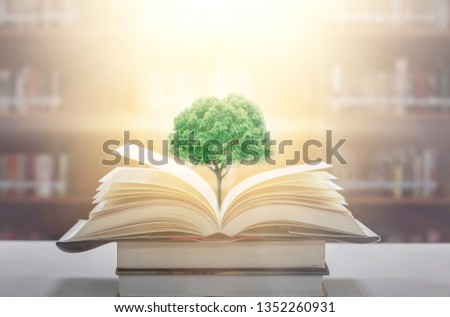 education concept with tree of knowledge planting on opening old big book in library with textbook, stack piles of text archive and aisle of bookshelves in school study class room #1352260931