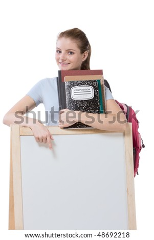 education financial aid Caucasian college student holds pile 100 (one hundred) dollar bills happy getting money help to subsidies costly university cost. Copy space board - stock photo