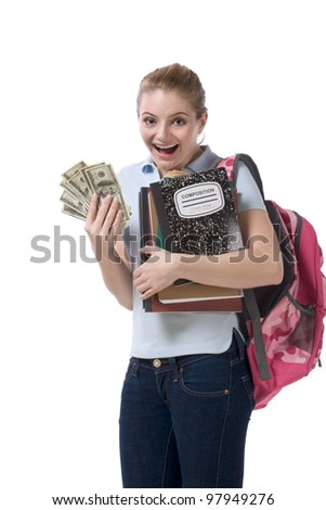 education financial aid Caucasian college student holds pile 100 (one hundred) dollar bills happy getting money help to subsidies costly university cost