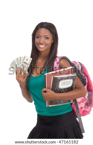 education financial aid Ethnic black African-American college student holds pile 100 (one hundred) dollar bills happy getting money help to subsidies costly university cost