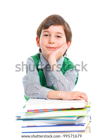 Education - funny boy with books. Isolated over white background.