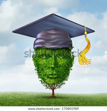 Education Growth Concept As A Graduation Cap Or Mortar Board On A Tree Shaped As A Human Head As A Symbol Of Growing Career Potential Through Skill Learning Or Environmental Studies.