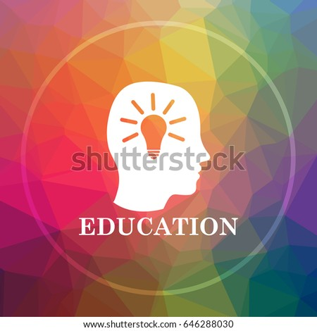 Education icon. Education website button on low poly background.