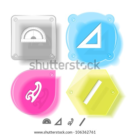 Education icon set. French curve, ruler, triangle ruler, protractor. Glass buttons. Raster illustration.