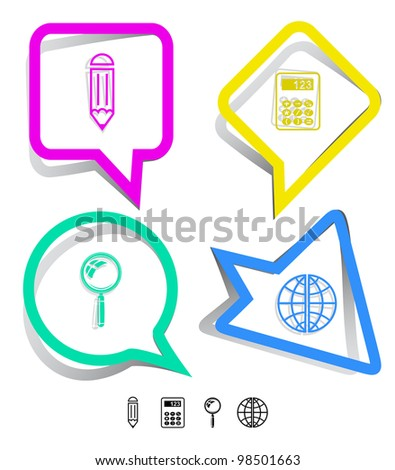 Education icon set. Magnifying glass, globe, calculator, pencil. Paper stickers. Raster illustration.