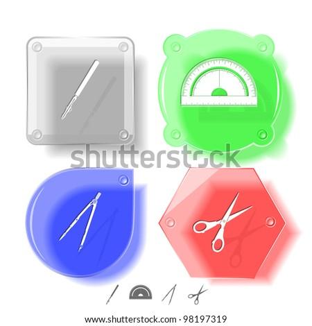 Education icon set. Scissors, ruling pen, protractor, caliper. Glass buttons. Raster illustration.