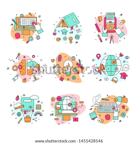 Education icons illustration and learning symbols of schooling and graduation set of school science books learned by educated students isolated on white background