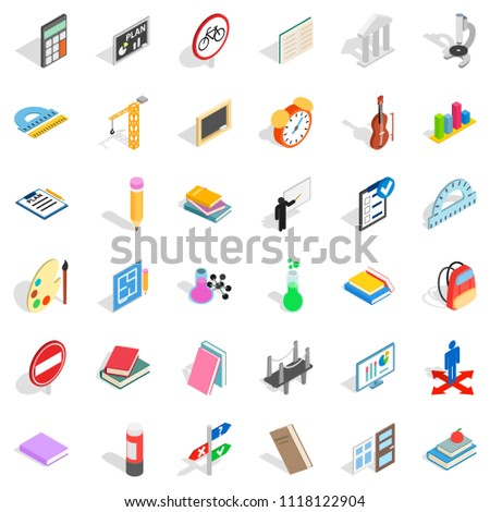 Education icons set. Isometric style of 36 education icons for web isolated on white background