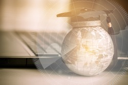 Education in Global, Graduation cap on top Earth globe model America map with Radar background. Concept of abroad international Educational, Back to School and Studies lead to success in world wide.