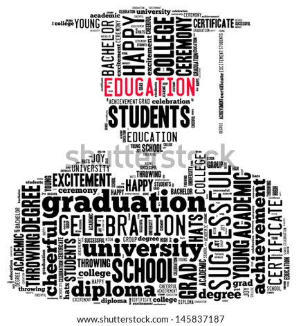 Education info-text graphic and arrangement concept on white background (word cloud)