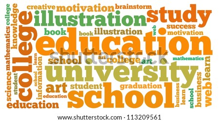 education info-text graphics and arrangement concept on white background (word cloud)