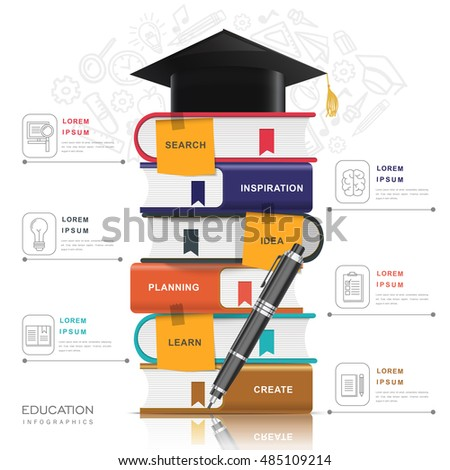 Education infographic design, graduation cap on a pile of books, doodling icons background