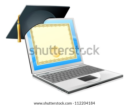 Education laptop concept. Illustration of a laptop computer with a mortar board cap and diploma certificate on screen. Distance learning, or IT computer courses, or other similar education themes.