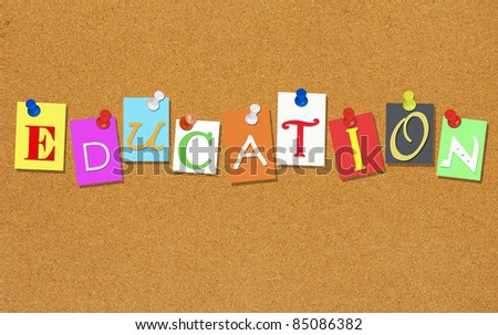 education letters pinned on a cork bulletin board
