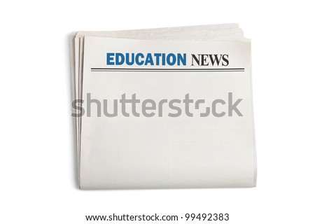 Education News, Newspaper with white background - stock photo