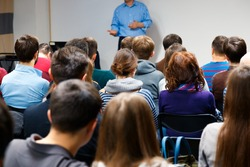 Education process at professor`s lecture in audience