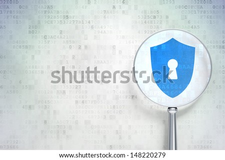 Education protection concept: magnifying optical glass with Shield With Keyhole icon on digital background, empty copyspace for card, text, advertising, 3d render
