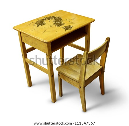 Education questions and learning answers with a children wood school desk with the symbol of a question mark carved into the table top on a white background.