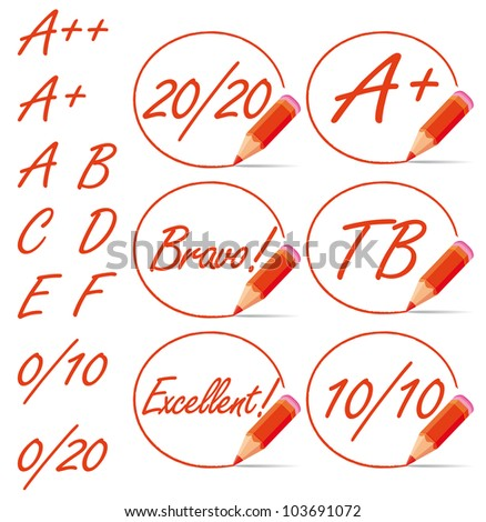 Education rating symbols surrounded by a red pencil. A plus, 20/20, from A to F letters collection.