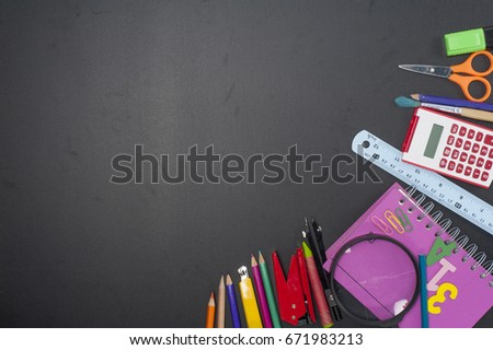 Education school tools,studies accessories on Black Chalkboard  Background #671983213
