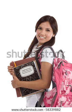 education series - Friendly ethnic Latina female high school student with backpack and composition book