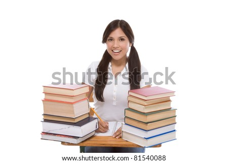 education series - Friendly ethnic Latina female high school student with books by desk