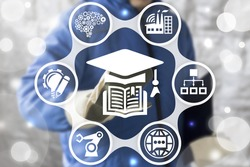 Education Smart Industry 4.0 concept. Worker touched book graduation cap icon. Industrial educational information innovative technology. Learning, training, increase knowledge, skills in manufacture.
