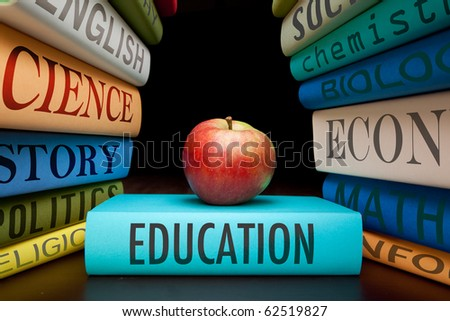 education study books with text learning building knowledge at school with healthy apple