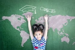 Education success and scholarship opportunity concept with school kid with graduation cap, certificate doodle of on green chalkboard