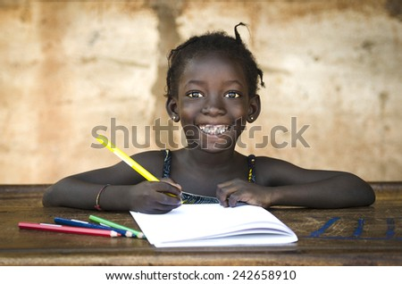 Education Symbol Big Toothy Smile on African School Girl